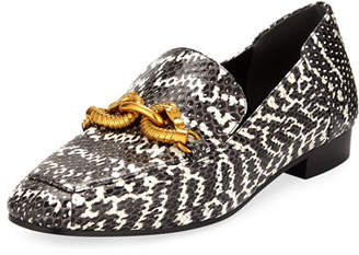 Tory Burch Jessa Snakeskin Printed Loafers w/ Horse Hardware