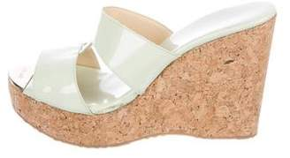 Jimmy Choo Patent Platform Wedges