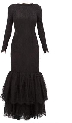 Alessandra Rich Peplum Hem Scoop Back Lace Gown - Womens - Black
