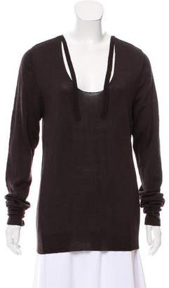 Etoile Isabel Marant Scoop Neck Tie-Accented Sweater