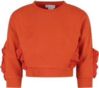 Stella McCartney Orange Girl Sweatshirt With Rouche