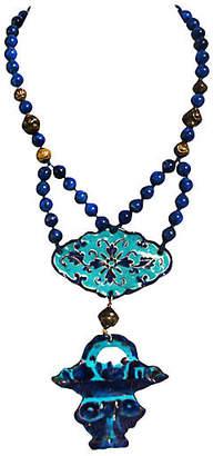 One Kings Lane Vintage Enamel & Lapis Lazuli Necklace