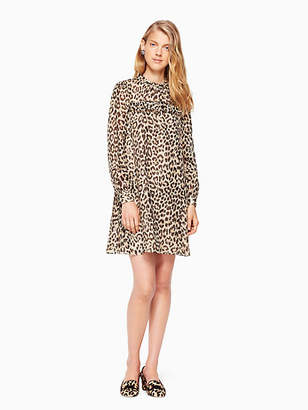 Kate Spade Leopard-print clipped dot mini dress