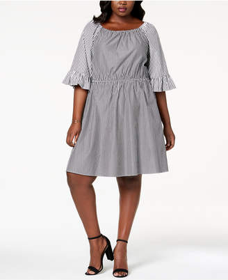 NY Collection Plus Size Mixed-Stripe Off-The-Shoulder Fit & Flare Dress