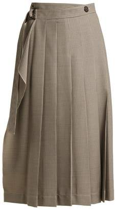 Joseph Fleet Pleated Houndstooth Skirt - Womens - Grey White
