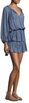 LoveShackFancy Silk Popover Ruffle Dress