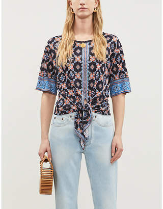 Sandro Printed stretch-jersey knotted T-shirt