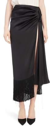 Magda Butrym Fringe Trim Silk Skirt
