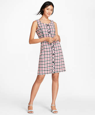 Brooks Brothers Checked Cotton-Blend Boucle Dress