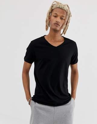 Weekday Dark V-Neck T-Shirt Black