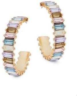 Ava & Aiden Goldtone Multi-Color Gemstone Thick Hoop Earrings