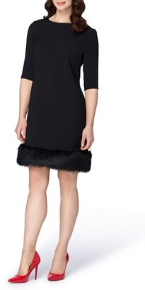 Women's Tahari Shift Dress With Faux Fur Trim $148 thestylecure.com