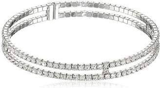Gap Oroclone Rhodium Plated Crystal Two-Row Bangle Bracelet