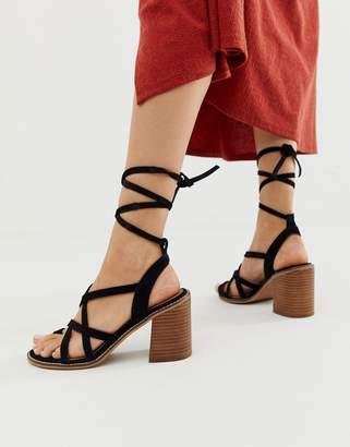 8e4392903122 Asos Design DESIGN Trivia suede tie leg heeled sandal