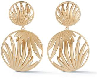 Susan Foster Yellow Gold Forrest Palm Earrings