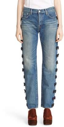 Tu es mon Tresor Grosgrain Bow Embellished Jeans