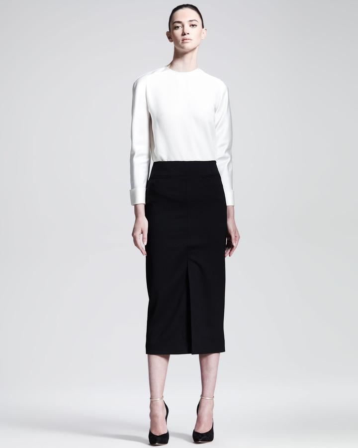 Haider Ackermann Below-the-Knee Front-Slit Skirt