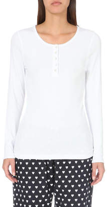 The White Company Scalloped-trim jersey pyjama top