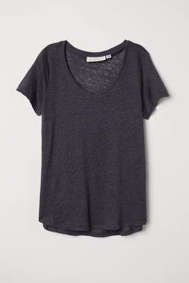 H&M Linen T-shirt - Gray