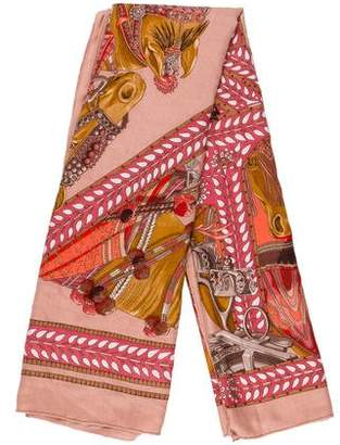 Hermes La Danse Du Cheval Marwari Cashmere Silk Shawl
