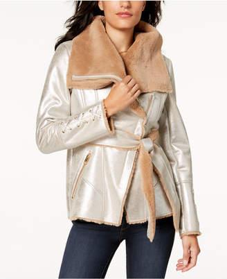 GUESS Metallic Faux-Fur Coat