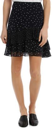 Micro Spot Dobby Ruffle Skirt
