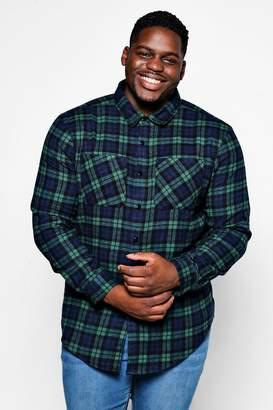 boohoo Big And Tall Double Pocket Flannel Check Shirt