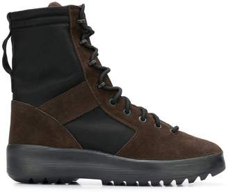 Yeezy Lace-up panelled military boots