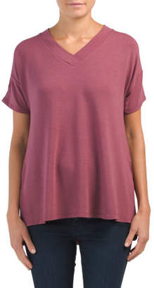 Baby Terry V-neck Tee With Side Slit