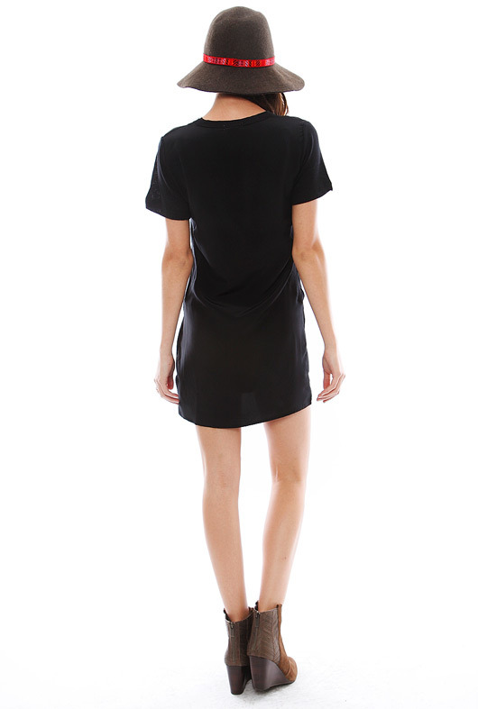 LnA Belle Silk Tee Dress in Black