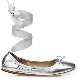 Saks Fifth Avenue Women's Metallic Leather Ankle-Wrap Ballet Flats