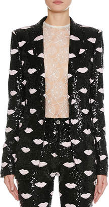 Giambattista Valli Lip-Embroidered Sequin Blazer