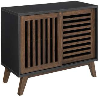 Walker Edison 36 Farmhouse Sliding Slat Door TV Stand Accent Storage Console Table