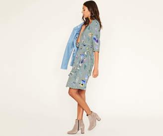 Oasis LONG PRESSED FLOWER WRAP DRESS