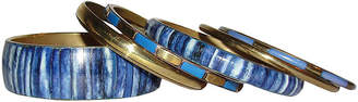 One Kings Lane Vintage Indian Blue Yak Bone Brass Bangles - Set of 6 - Treasure Trove NYC