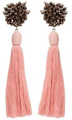 MANGO Micro beads tassel earrings