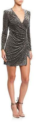 Astr Yasmin Leopard-Print Velvet Wrap Dress