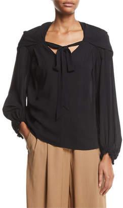 3.1 Phillip Lim V-Neck Full-Sleeve Silk Blouse