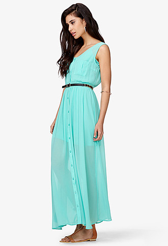 Forever 21 Buttoned Chiffon Maxi Dress