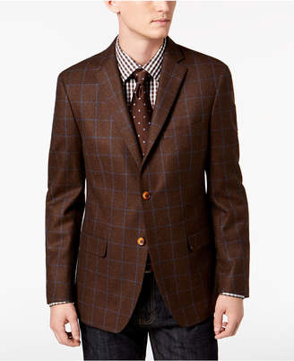 Tallia Orange Men's Big & Tall Slim-Fit Brown/Blue Windowpane Wool Sport Coat