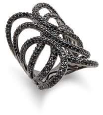 Blanc Noir Crystal Studded Ring