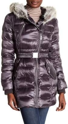Rachel Roy Fleece Lined Faux Fur Trim Hooded Puffer Jacket