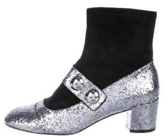Marc Jacobs Glitter-Trimmed Suede Boots Black Glitter-Trimmed Suede Boots