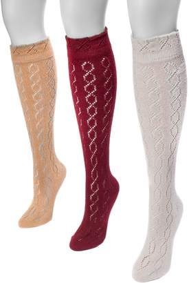 Muk Luks Women's 3 Pair Pack Pointelle Knee High Socks