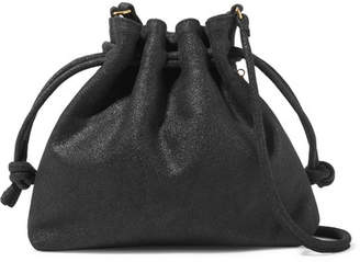 Clare Vivier Henri Small Metallic Suede Bucket Bag - Black