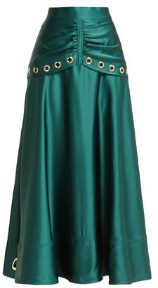 Self-Portrait Eyelet Embellished Satin Midi Skirt - Womens - Dark Green
