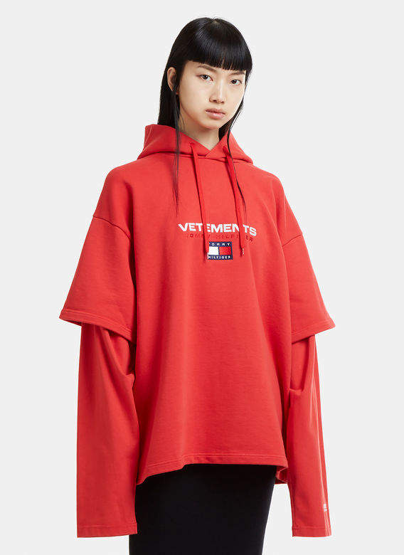X Tommy Hilfiger Layered Sleeve Hooded Sweatshirt in Red