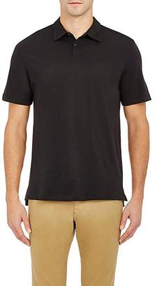 Barneys New York MEN'S COTTON JERSEY POLO SHIRT - BLACK SIZE S