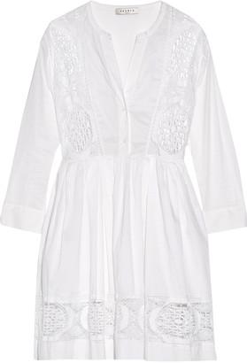 Sandro Rondo crochet-paneled cotton-broadcloth mini dress $530 thestylecure.com