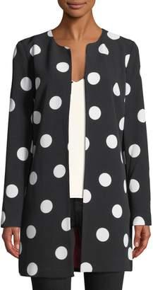 Karl Lagerfeld Paris Polka-Dot Crepe Topper Jacket